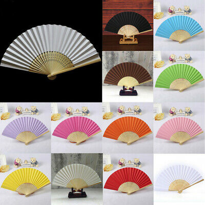 Pattern Folding Dance Wedding Party Silk Folding Hand Held Solid Color Fans