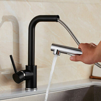 Modern 1 Lever Pull-Out Spray Tap Single Hole Kitchen Faucet Black&Chrome/Chrome