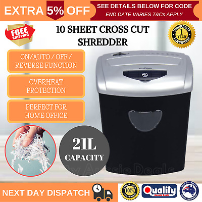 PENDO Paper Shredder Home Office 21L Cross Cut 10 Sheets CDs Credit Cards New