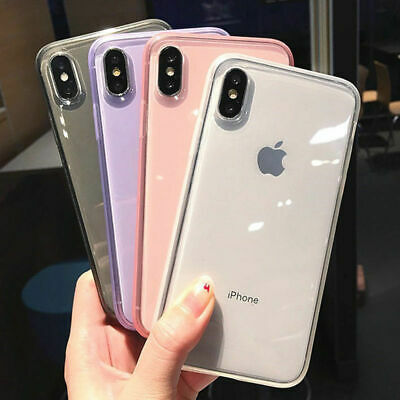 For iPhone XS Max XR X 7 8 6s Cute Bling Glitter Slim TPU Soft Clear Case Cover