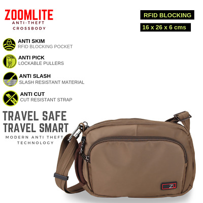 Zoomlite Anti-Theft RFID Blocking Crossbody Travel Bag Water Repellent