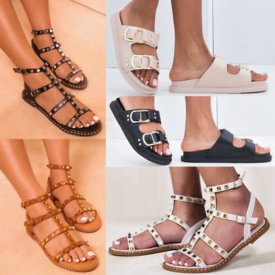 Womens Ladies Low Wedge Summer Sandals Studded Strappy Flatform New Shoes Size