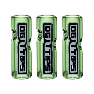 OG Tips Green 3 pack - Glass Filter Tips for Smoking (High Quality Glass Crutch)