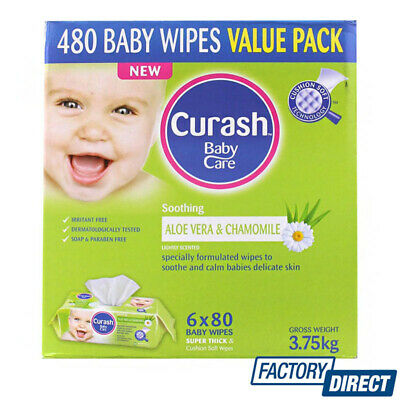 CURASH 6 x 80PK BABY WIPES VALUE PACK SOOTHING ALOE VERA & CHAMOMILE 480 PIECES