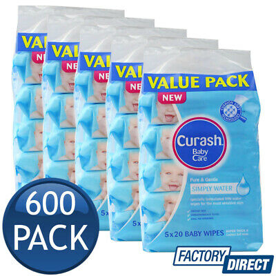 6 x CURASH BABY WIPES TRAVEL PACK PURE & GENTLE SIMPLY WATER SAFE SOFT 100 PK