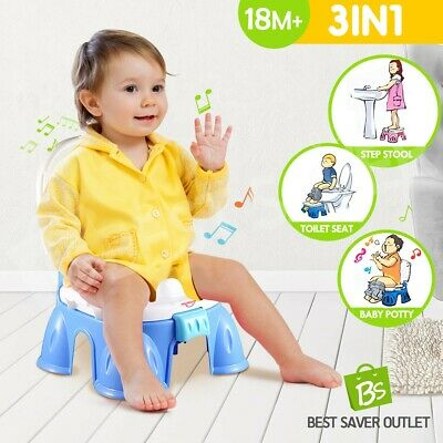 3iN1 Kids Potty Training Potty Baby Toilet Toddler Safety Music Seat Chair Blue