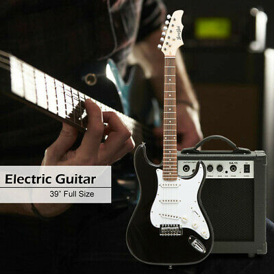 39'' Full Size Beginner Electric Guitar with 15W AMP,Case,Accessories Pack-Black