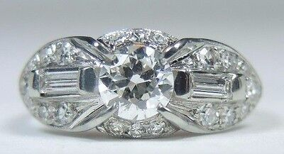 Antique Art Deco Vintage Engagement 18K White Gold Ring Size 5 UK-J1/2 EGL USA