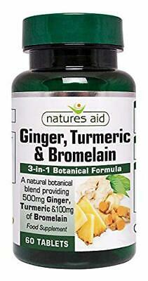 Natures Aid Ginger Turmeric and Bromelain, 60 Tablets (3-in-1 Botanical Formula,