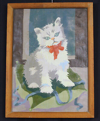 """Vtg Paint by Number Picture Art Cat Kitten on Pillow 14"""" MCM Framed Animal Wall"""