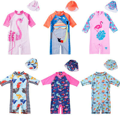 UK Toddler Kids Baby Boys Girls Flamingo Sun Protective Surf Beach Swimwear Cap