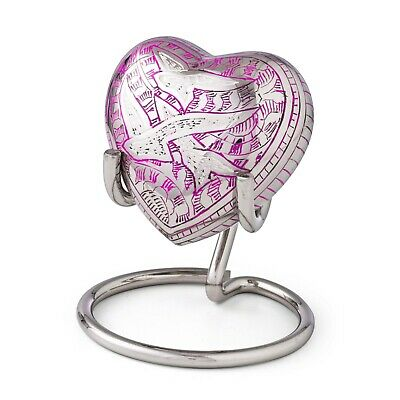 Mini Urn For Ashes Cremation Memorial Small Heart Keepsake Urn Pink Box &Stand