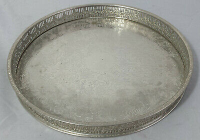 """Pretty ornate vintage 10"""" round silver plated gallery tray by Haseler & Restall"""