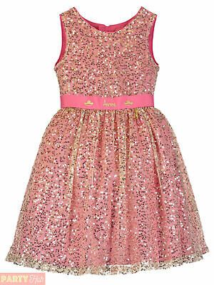 Girl Disney Boutique Sleeping Beauty Dress Rose Pink Gold Glitter Party Outfit
