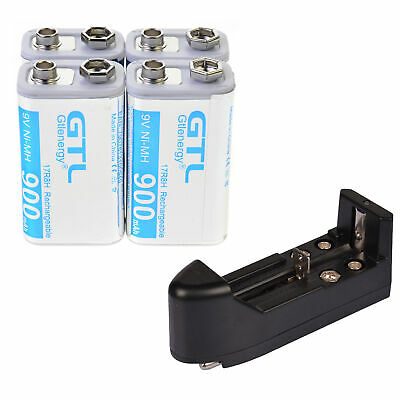 4 pcs 9 Volt 900mAh Power Ni-Mh Rechargeable Battery Cell PPS block Durable 9V