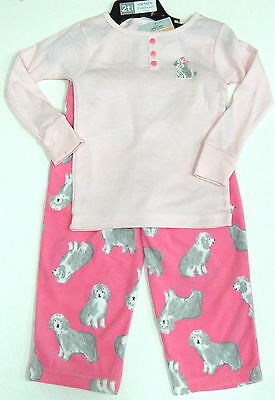 Carter's Girls 2 Pce Dog Pyjamas Set Pink Top, Pink Fleecy Bottoms 4 Years BNWT