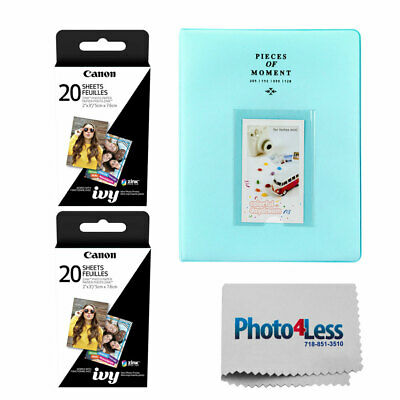 "Canon 2 x 3"" ZINK Photo Paper Pack (40 Sheets) + Photo Album + Cleaning Cloth"