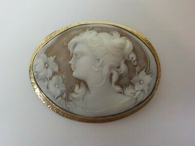 "14 K Yellow Gold Shell Cameo Brooch, Large 2.75"" Size - Stunning!"