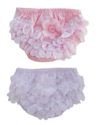 Baby Girls Cotton Frilly Pants Nappy Covering Pants With Organza Lace & Flower