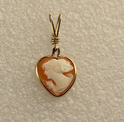 Vintage 14k Gold Carved Shell Cameo Pendant