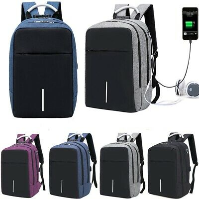 Anti-theft Mens Backpack Laptop Travel School Bag Rucksack With USB Charger Port