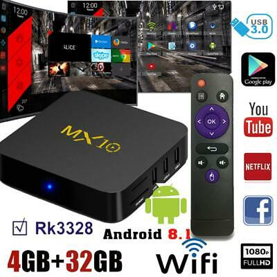 Smart MX10 RK3328 Quad Core TV BOX 4G+32G H.265 WiFi 4K Android 8.1 Media Player