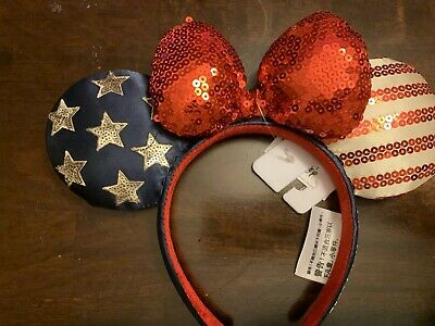 New Disney parks Americana 4th Of July Ears Stars Red White And Blue Headband