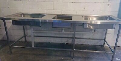 Commercial Cafe Restaurant S/steel Free Standing Triple Bowl Sink