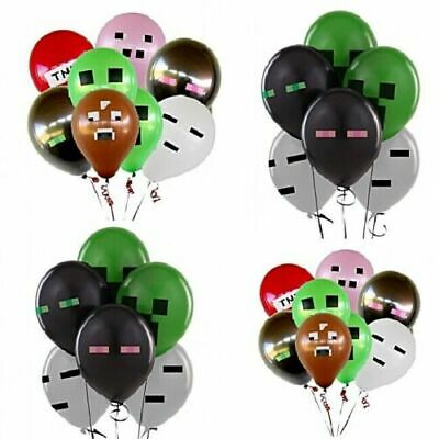 12 X Minecraft Themed Latex Party Balloons, Etc Party Supplies. Various colours