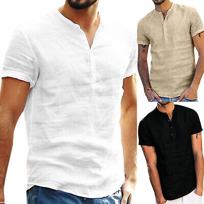 Mens Standing Collar Short Sleeve Solid Comfy Tops Summer Beach Holiday T Shirts