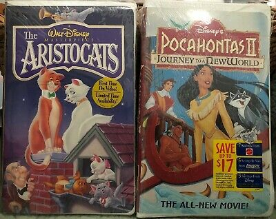 WALT DISNEY VHS LOT The Aristocats & Pocahontas II New in Shrink Wrap Clamshell