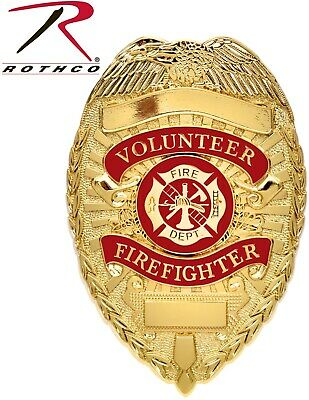 Rothco Gold Plated Deluxe Volunteer Fire Department Badge Rothco 1929