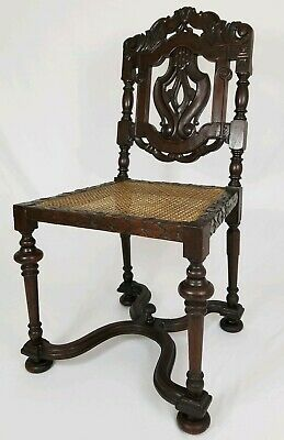 Antique Carved Jacobean Throne Chair With Cane Seat Walnut Renaissance Revival