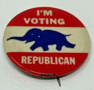 "Political Pinback I'm Voting Republican 1-1/4"" Celluloid Button Vintage 19-1153"