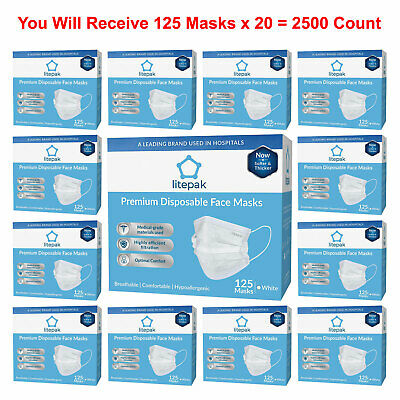 2500pcs Litepak Medical Disposable Face Masks Earloop Dental Surgical Flu White