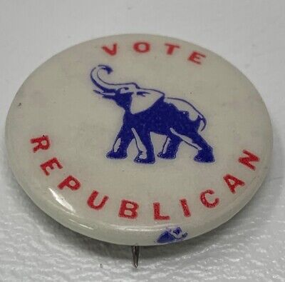 "Vote Republican Pinback Button Vintage 1"" Estate Find 19-318C"