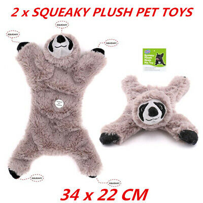2 x Pet Puppy Chew Squeaker Squeaky Plush Sound Grey Sloth For Dog Play Toys