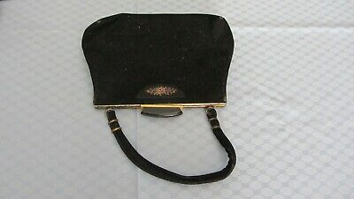 VINTAGE  BLACK VELVET SUEDE HANDBAG W/ SMALL TAPESTRY MOTIVE  by ORLOS NSW