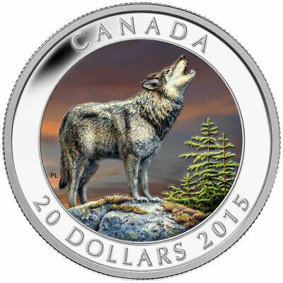 Canada 2015 Howling Wolf $20 1 Oz Pure Silver Color Proof Mintage 7500