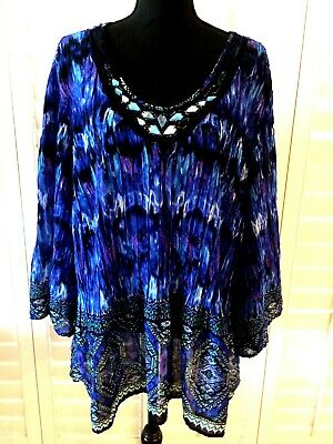 Cato Woman Blouse Size 18/20W Crinkle/Sheer Blue/Black/Multi Embellished