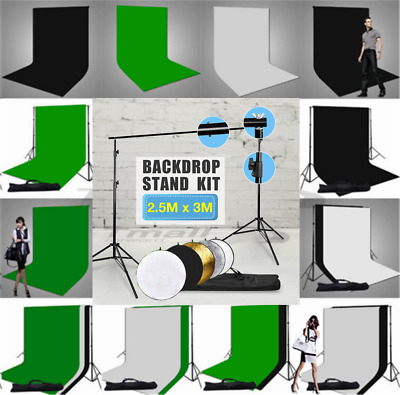 NEW- Photo Backdrop Screen Black White Green Muslin Background Stand Support KIT