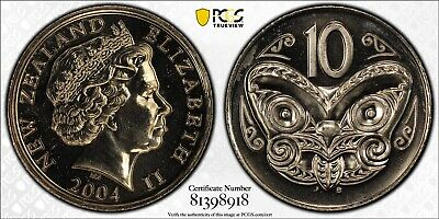 2004 New Zealand NZ 10c Ten Cent $1 One Dollar Mule Coin PCGS Graded MS66