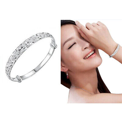 925 Sterling Silver Carving Cuff Bracelet Bangle Jewelry Gift For Women Girls