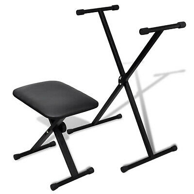 Adjustable X Frame Single Braced Keyboard Stand with Stool Foldable Black