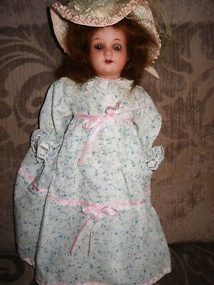 Antique sprayed bisque head doll,crude body,AM390 Germany12 ins reduced by $14