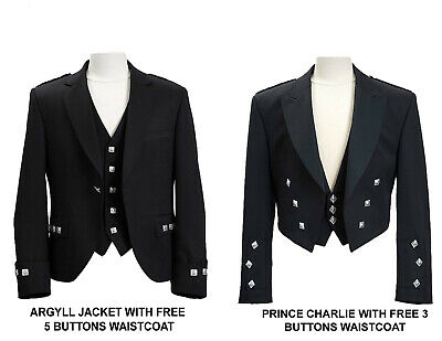 100% Wool Hand Made Scottish Prince Charlie Kilt Jacket With Free Waist Coat Spo
