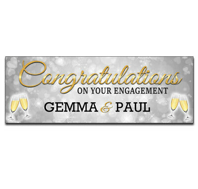 2 Personalised Engagement Banners Celebration Party Any Names