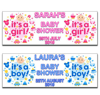 2 Personalised Cute Baby Shower Banners Blue Pink Boy Girl Any Name