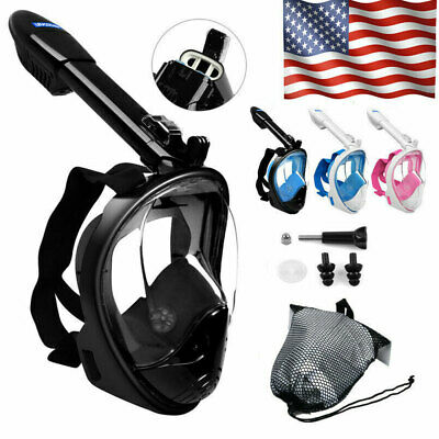 Pro Anti-Fog Swimming Diving Full Face Mask Surface Snorkel Scuba for GoPro New