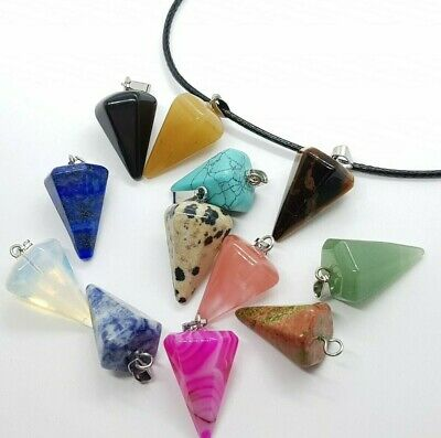 Cone Shaped Crystal Necklace Quartz Reiki Healing Point Cut Chakra Pendant UK